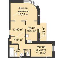 2 комнатная квартира 64,91 м², ЖК Петровская Крепость - планировка
