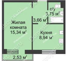 1 комнатная квартира 32,45 м² в ЖК Тридесятое, дом № 23 - планировка