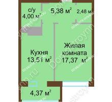 1 комнатная квартира 43,7 м² в ЖК Дворянский, дом № 1 - планировка