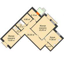 2 комнатная квартира 86,3 м², Жилой дом: г. Дзержинск, ул. Кирова, д.12 - планировка