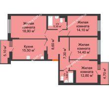 4 комнатная квартира 106 м² в ЖК Династия, дом Литер 2 - планировка