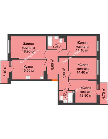 4 комнатная квартира 106 м² в ЖК Династия, дом Литер 2