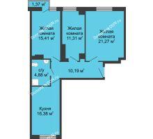 3 комнатная квартира 80,59 м², ЖК Соборный - планировка