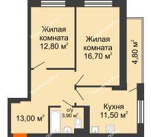2 комнатная квартира 62,7 м² в ЖК На Тимошенко, дом № 1 - планировка