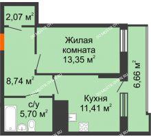 1 комнатная квартира 44,6 м² в ЖК Циолковский, дом № 5 - планировка