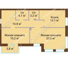 2 комнатная квартира 76,9 м², Жилой дом: ул. Почаинская д. 33 - планировка