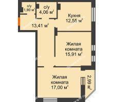 2 комнатная квартира 65,73 м² в ЖК Континент, дом № 16 - планировка