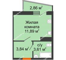1 комнатная квартира 20,77 м² в ЖК Волна, дом 2 очередь (секция 4) - планировка