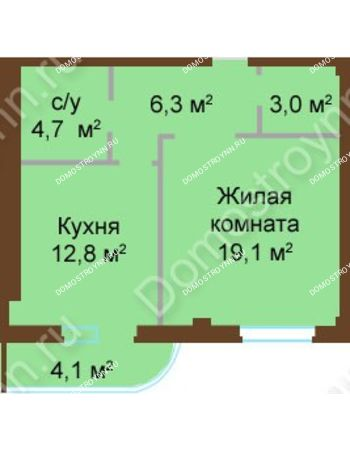 1 комнатная квартира 50 м² - ЖК Бояр Палас