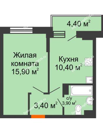 1 комнатная квартира 35,8 м² в ЖК Династия, дом Литер 2