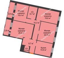 4 комнатная квартира 134,7 м², Жилой дом: ул. Варварская - планировка