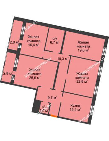 4 комнатная квартира 134,7 м² - Жилой дом: ул. Варварская