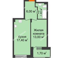 1 комнатная квартира 42,5 м² в ЖК Заречье, дом № 7 - планировка