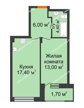 1 комнатная квартира 42,5 м² в ЖК Заречье, дом № 7