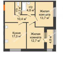 2 комнатная квартира 63,2 м² в ЖК Цветы 2, дом № 7 - планировка