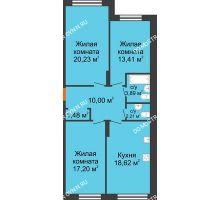 3 комнатная квартира 87,04 м² в ЖК Маленькая страна, дом № 4 - планировка