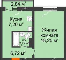 1 комнатная квартира 35,39 м² в ЖК Корабли, дом № 9-2 - планировка