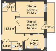 2 комнатная квартира 66,2 м² в ЖК Премиум, дом №1