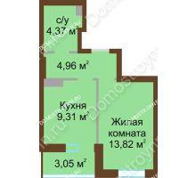 1 комнатная квартира 34,43 м² в ЖК Красная поляна, дом № 2