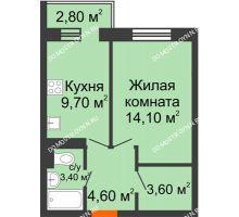 1 комнатная квартира 36,2 м² в ЖК Жюль Верн, дом № 1 корпус 1 - планировка