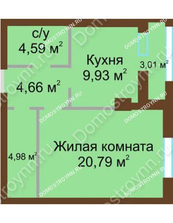 1 комнатная квартира 46,12 м² - ЖК Грани