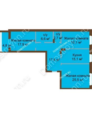 3 комнатная квартира 105,26 м² - ЖК Классика - Модерн