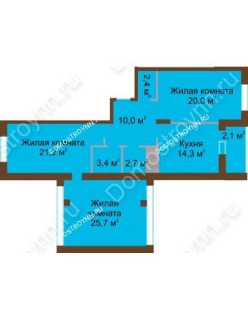 3 комнатная квартира 101,8 м² в ЖК Монолит, дом № 89, корп. 1, 2