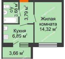 1 комнатная квартира 30,51 м² в ЖК АВИА, дом № 2 - планировка