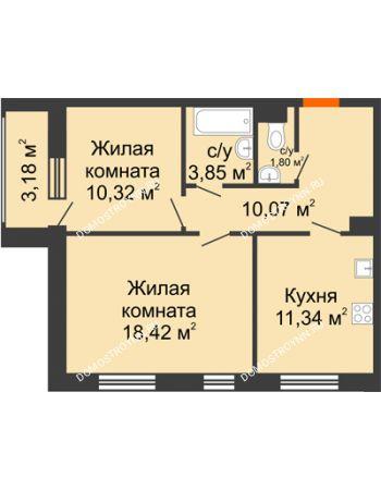 2 комнатная квартира 57,39 м² - Дом на Чаадаева