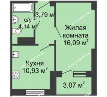 1 комнатная квартира 37,94 м² в ЖК Облака, дом № 1