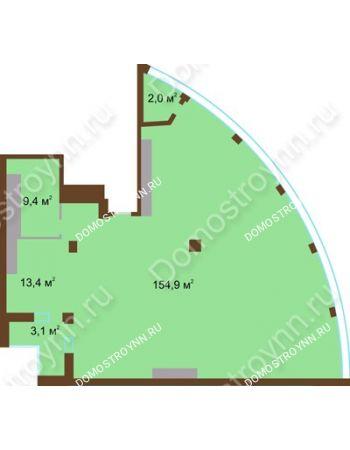 1 комнатная квартира 182,8 м² в ЖК Монолит, дом № 89, корп. 1, 2