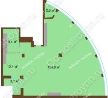 1 комнатная квартира 182,8 м² в ЖК Монолит, дом № 89, корп. 1, 2 - планировка