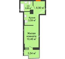 Студия 25,9 м² в ЖК Сердце Ростова 2, дом Литер 7 - планировка