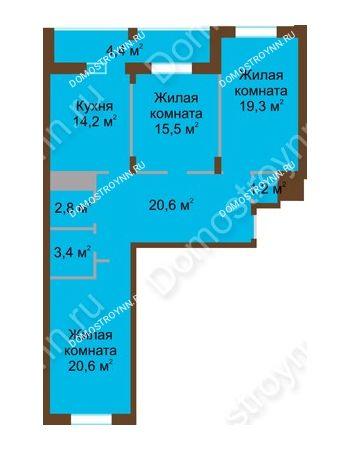 3 комнатная квартира 102 м² в ЖК Монолит, дом № 89, корп. 1, 2