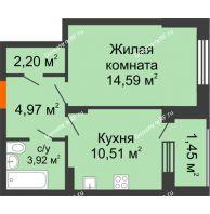 1 комнатная квартира 37,64 м² в ЖК Суворов-Сити, дом 1 очередь секция 6-13 - планировка