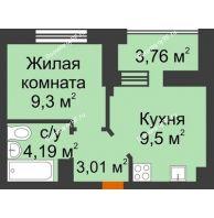 1 комнатная квартира 27,92 м² в ЖК Светлоград, дом Литер 16 - планировка