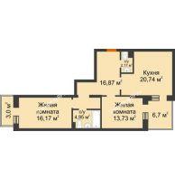 2 комнатная квартира 78,88 м² в ЖК Новоостровский, дом № 2 корпус 1 - планировка
