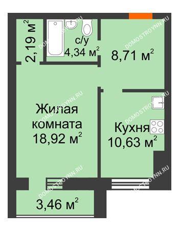 1 комнатная квартира 46,52 м² в ЖК Парк Горького, дом 62/18, № 6