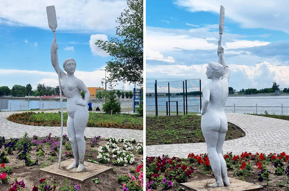 Гипсовую скульптуру «Девушка с веслом» на левом берегу Дона раскритиковали ростовчане