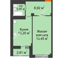 1 комнатная квартира 44,12 м² в ЖК Солнечный, дом № 2 - планировка