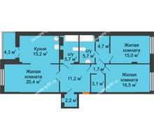 3 комнатная квартира 103,6 м² в Клубный дом Лобачевский, дом № 1 - планировка