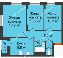 3 комнатная квартира 62,6 м² в ЖК Октава, дом №3 - планировка
