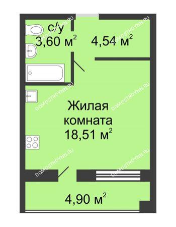 Студия 29,1 м² в ЖК Удачный, дом № 3