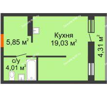 Студия 30,18 м² в ЖК Мозаика Парк, дом ГП-1 - планировка