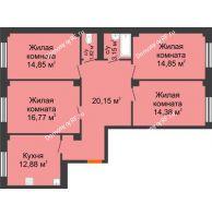 4 комнатная квартира 98,63 м² в ЖК Ясный, дом № 10 - планировка