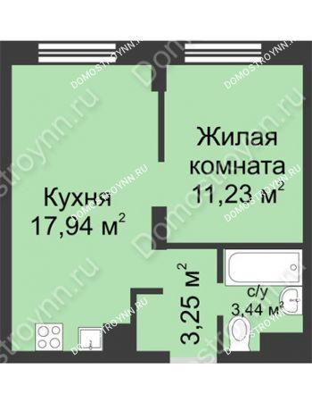 1 комнатная квартира 35,86 м² - ЖК Университетский