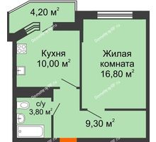 1 комнатная квартира 42 м² в ЖК Любимый дом, дом Литер 2 - планировка