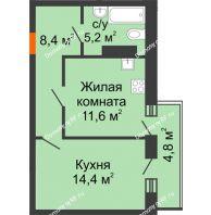 1 комнатная квартира 42 м² в ЖК Парк Победы, дом Литер 4 - планировка