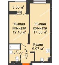 2 комнатная квартира 45,66 м², ЖК ПАРК - планировка