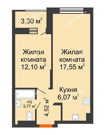 2 комнатная квартира 45,66 м² - ЖК ПАРК